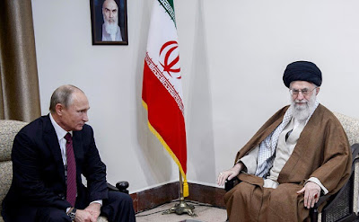Vladimir Putin and Ayatollah Ali Khamenei. Islamic Republic of Iran.