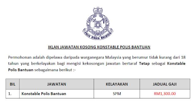 jawatan kosong konstable polis bantuan