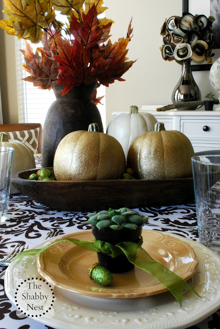 Fall Tablescape with Glittered Pumpkins by The Shabby Nest