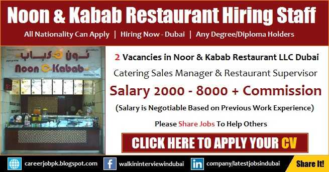 Noon O Kabab Dubai Catering Jobs
