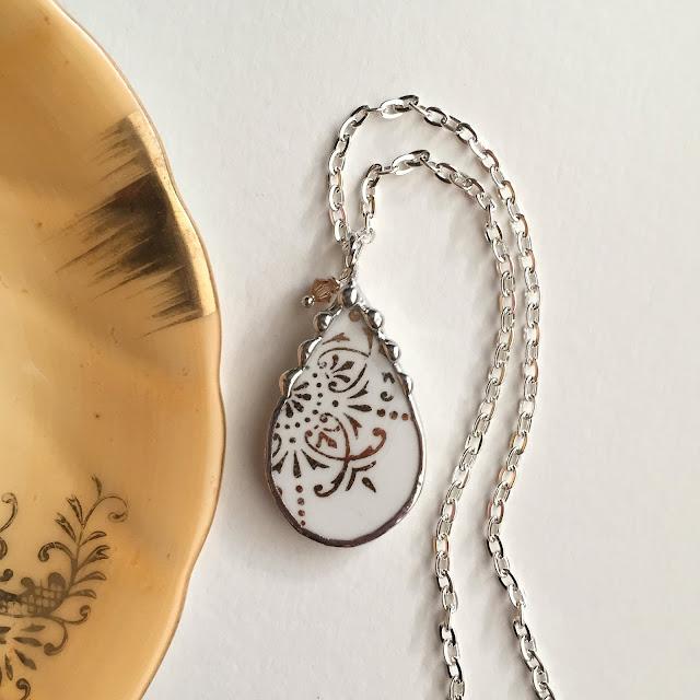 Gold motif tear shaped broken china pendant Dishfunctional Designs