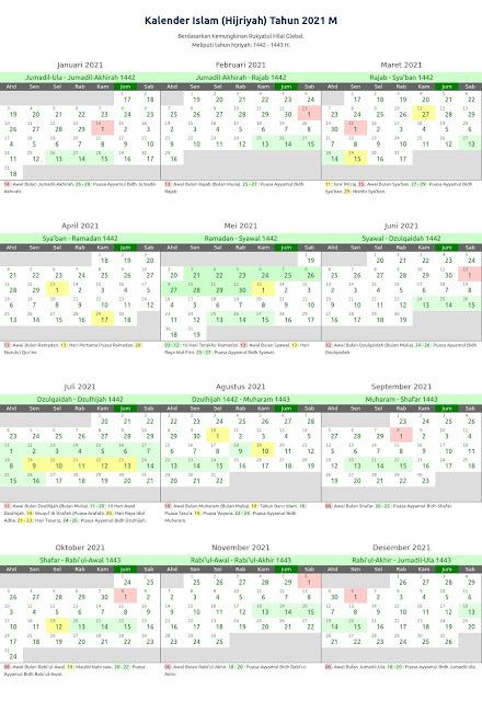 Download Kalender Islam 2021 Lengkap PDF JPG Excel & Word
