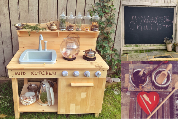 mud kitchen with pump action sink, large outdoor blackboard and pet bowl mini mud kitchen