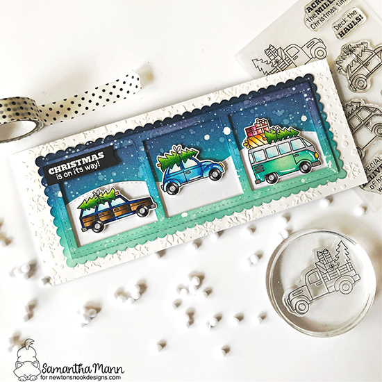 Cars and van carrying Christmas trees card by Samantha Mann | Christmas Delivery Stamp Set, Snowfall Stencil and Slimline Die Sets by Newton's Nook Designs #newtonsnook #handmade