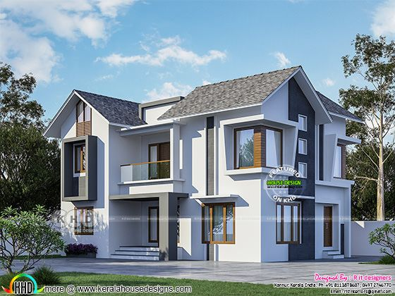 4 bedroom sloping roof modern house rendring