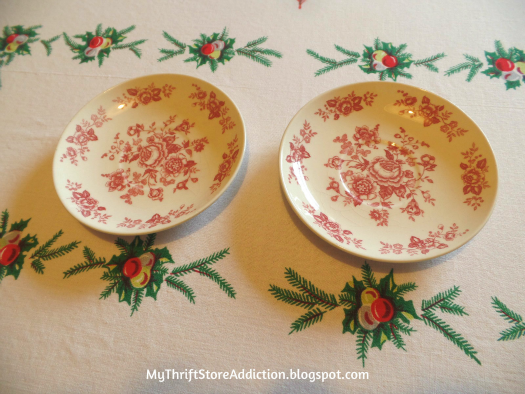 Friday's Find: A Snowman Tea for Two mythriftstoreaddiction.blogspot.com A snowman tea party tablescape created with thrift store finds like these red transferware plates