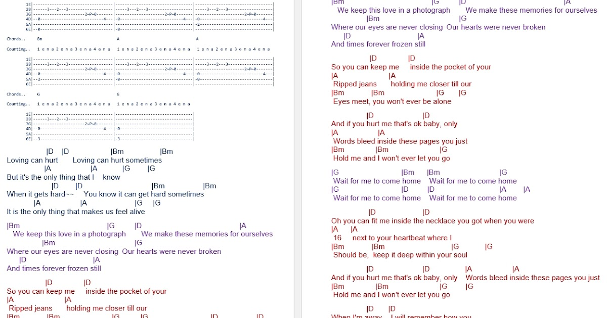 TalkingChord.com: Ed Sheeran - Photograph (Chords)