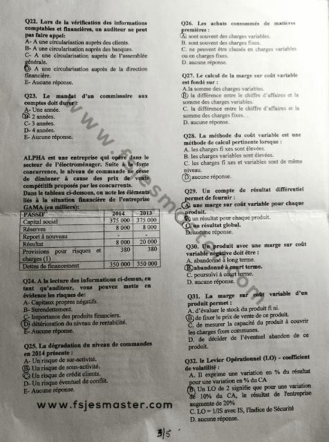 Exemple concours Master Contrôle de Gestion et Système d'Information (CGSI) 2015-2016 - Fsjes Ibn Zohr Agadir