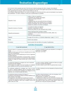 بطاقة تقنية من دليل الأستاذ خاصة بتدبير التقويم التشخيصي للمستوى الثالث فرنسية