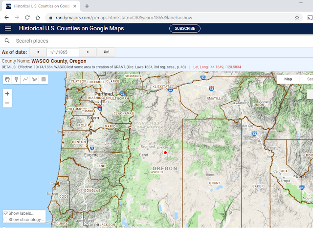 Historical U.S. Counties on Google Maps example from 1865 Oregon with county name labels