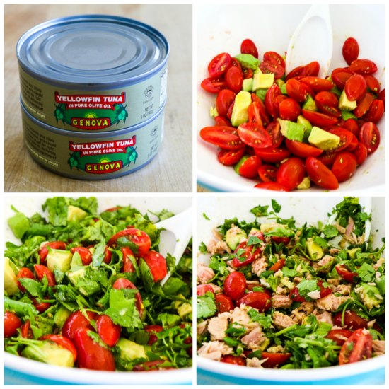 Tomato Salad with Avocado, Tuna, Cilantro, and Lime found on KalynsKitchen.com