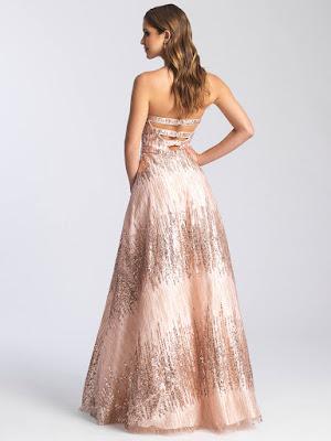 Stapless Madison James Prom Dresses rose gold color back side