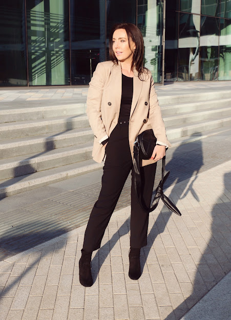 over 40 beige blazer outfit
