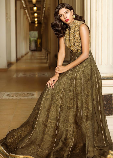 HSY Army green formal bridal dress