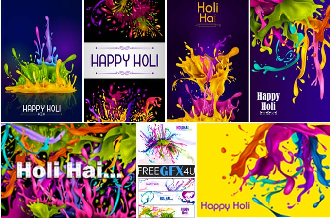 Happy Holi Colorful Vector Template Pack