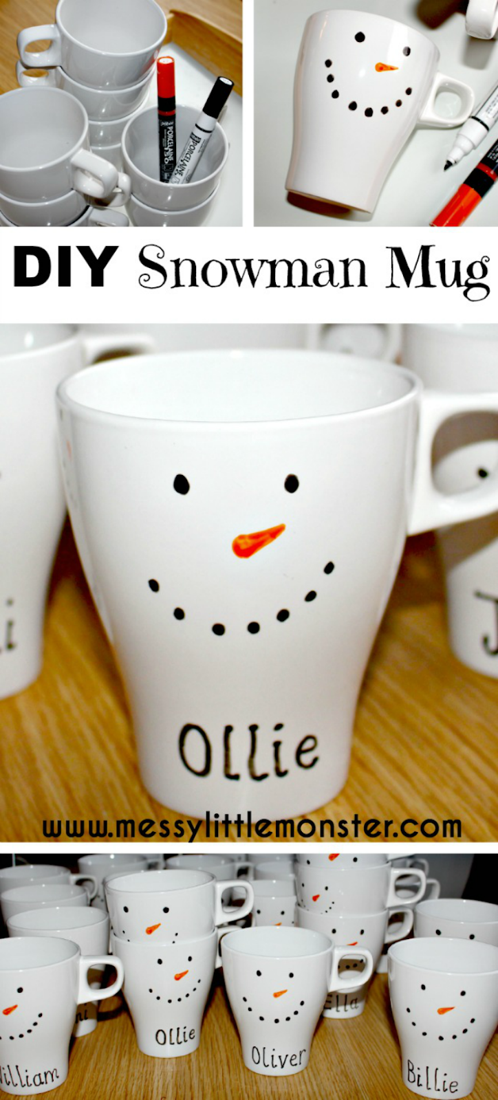 Make your own diy snowman mug. Easy snowman craft for kids.