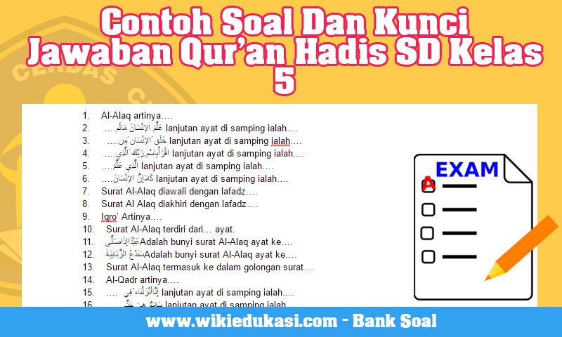 Contoh Soal Dan Kunci Tanggapan Qur An Hadis Sd Kelas 5 Idn Paperplane