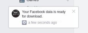 pemberitahuan untuk mengunduh file akun facebook