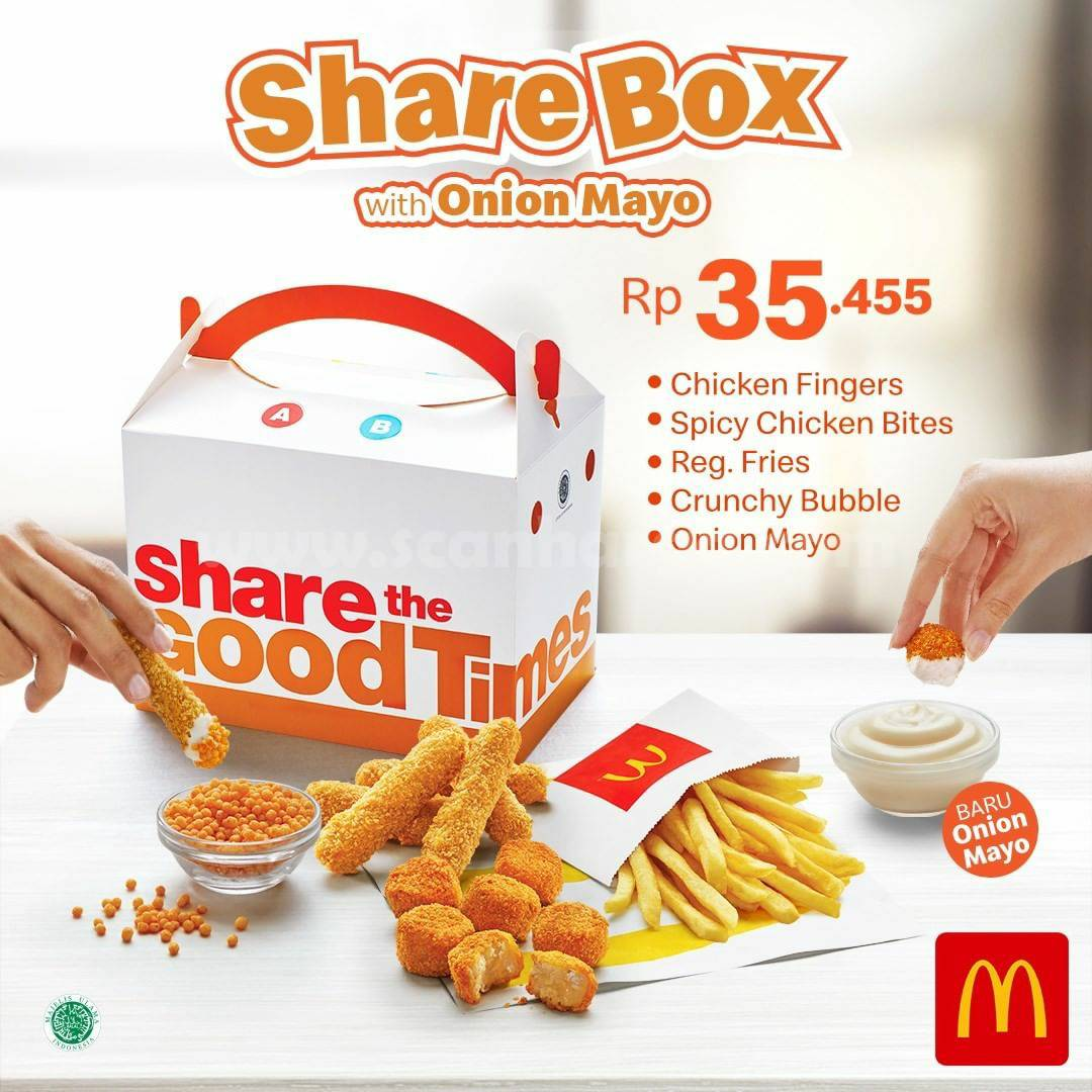 Promo McDonalds Share Box with Onion Mayo only Rp 35.455*