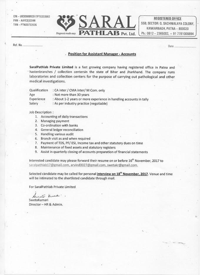 Vacancy for Saral Pathlab P Ltd