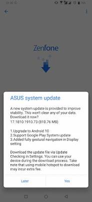 Android 10 Update OTA Zenfone 6 ZS630KL