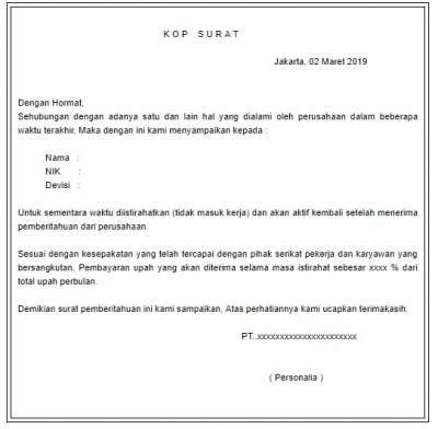 Contoh Surat Pemberitahuan Merumahkan Karyawan Gudang