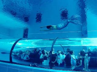 Una sirena en la piscina Y-40 cortesía Hotel Millepini Terme