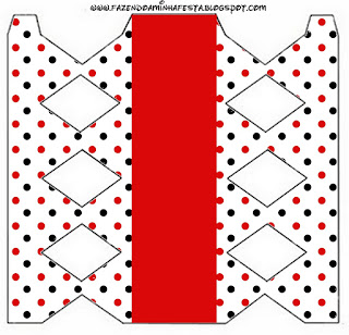 Red Polka Dots in Black and White Free Printable Box.