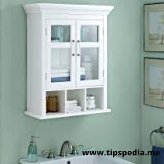 small white bathroom wall cabinet