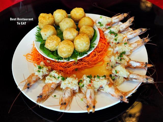 CHINESE NEW YEAR 2020 Menu - Sea Prawn With Garlic & Alaskan Scallop Potato Puff