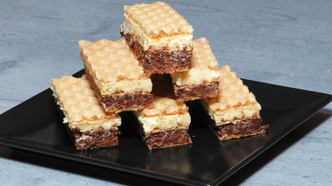 Prăjitură Alb și Maro cu Foi de Napolitană (fără coacere)