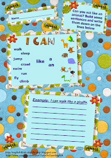 action verbs building sentences with the modal verb can worksheet