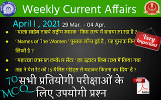 Weekly Current Affairs ( April I , 2021 )