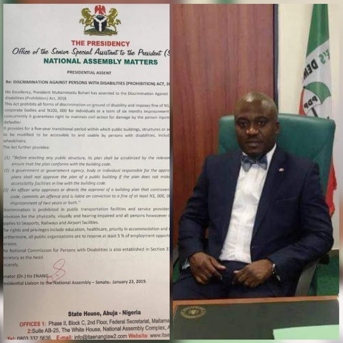 PMB Signs MP Legor Idagbo 's Bill on the Prohibition of Discrimination of Persons Living with Disability