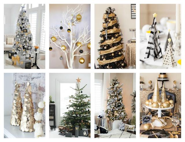 christmas gold black white