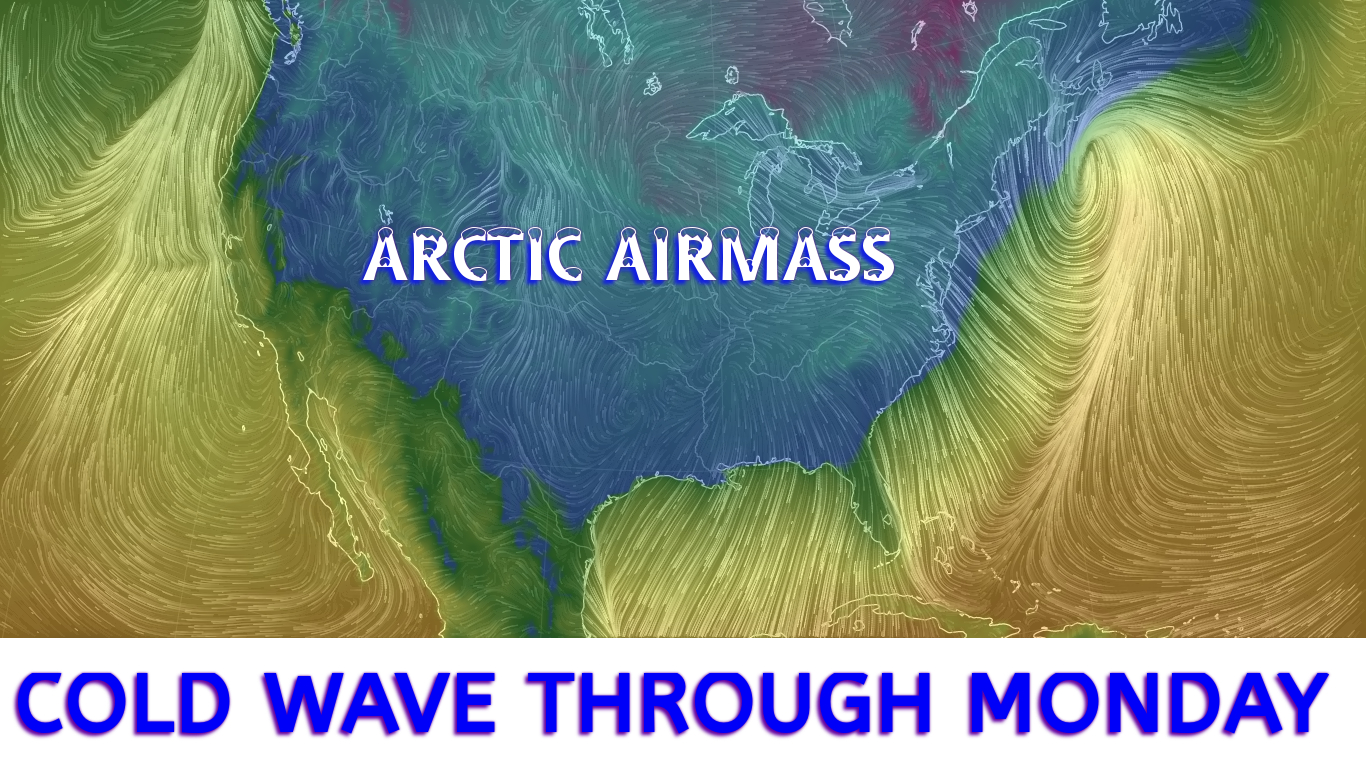 Map depicting the extent of the Arctic Airmass