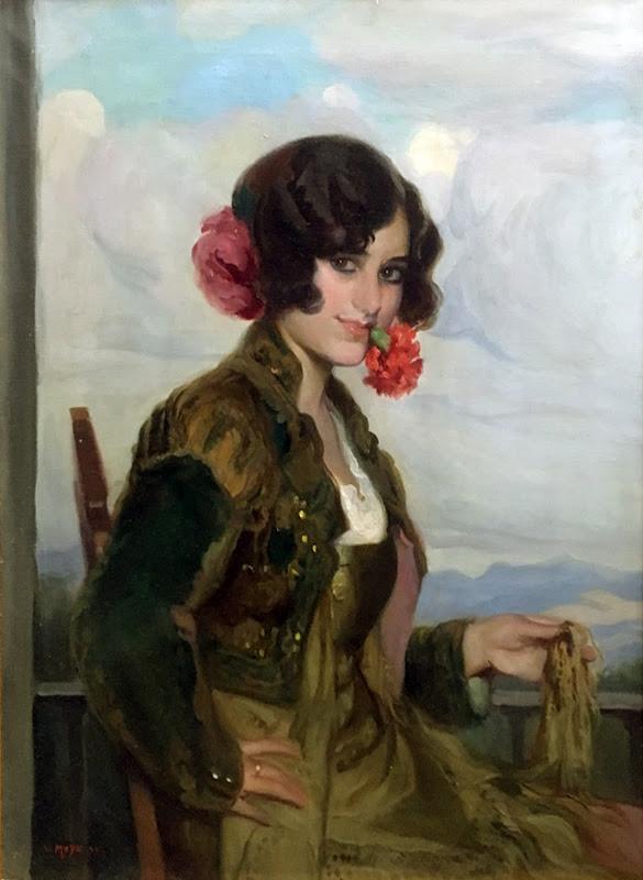 Joven con una rosa, Victor Moya Calvo, Pintor español, Pintores Valencianos, Retratos de Victor Moya Calvo, Pintores españoles, Pintor Victor Moya, Pintores Valencianos