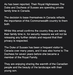 Duke and Duchess of Sussex spending part of their family time in Canada Decemebr 2019