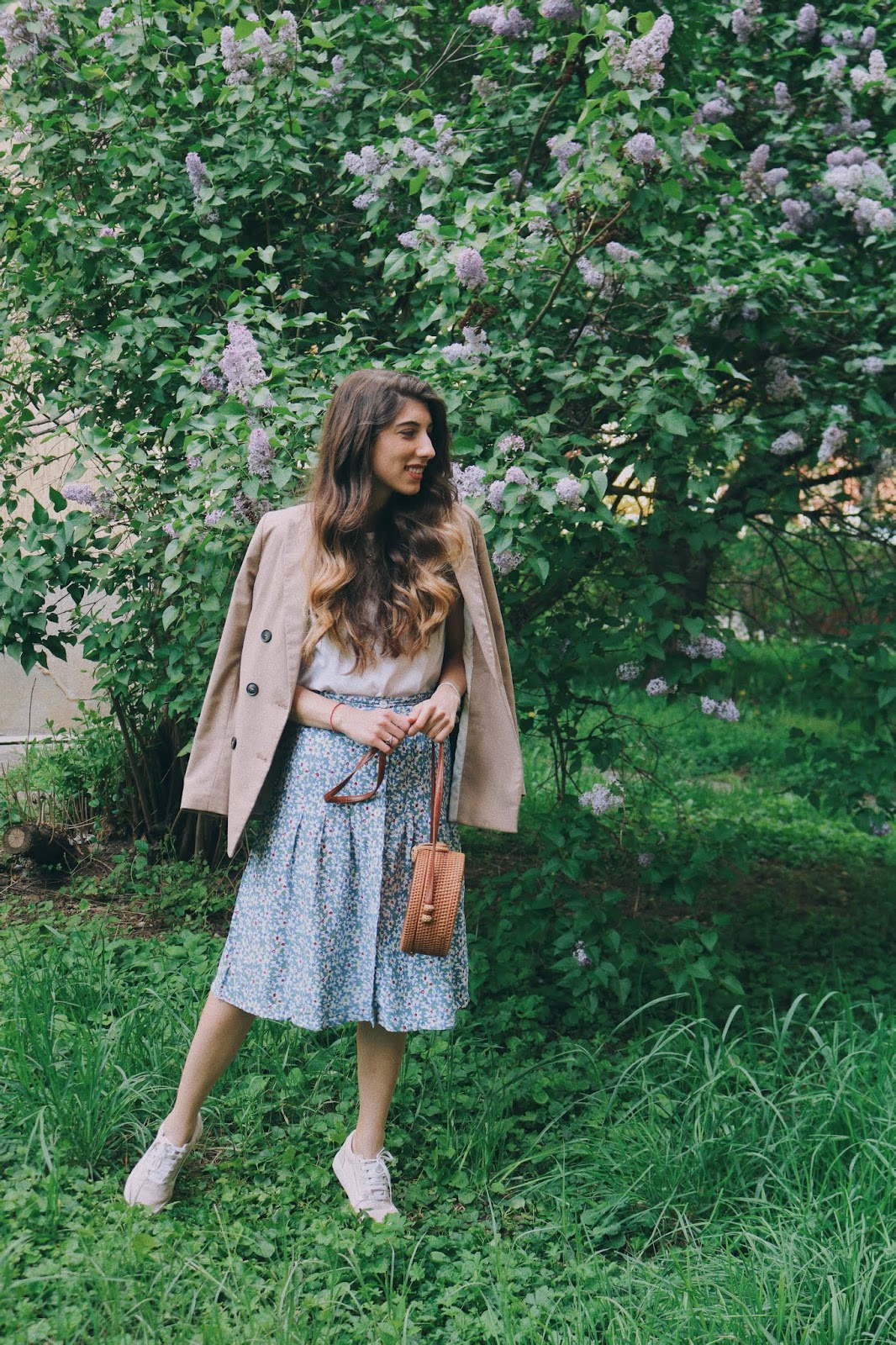 quadrifo-floral-print-skirt