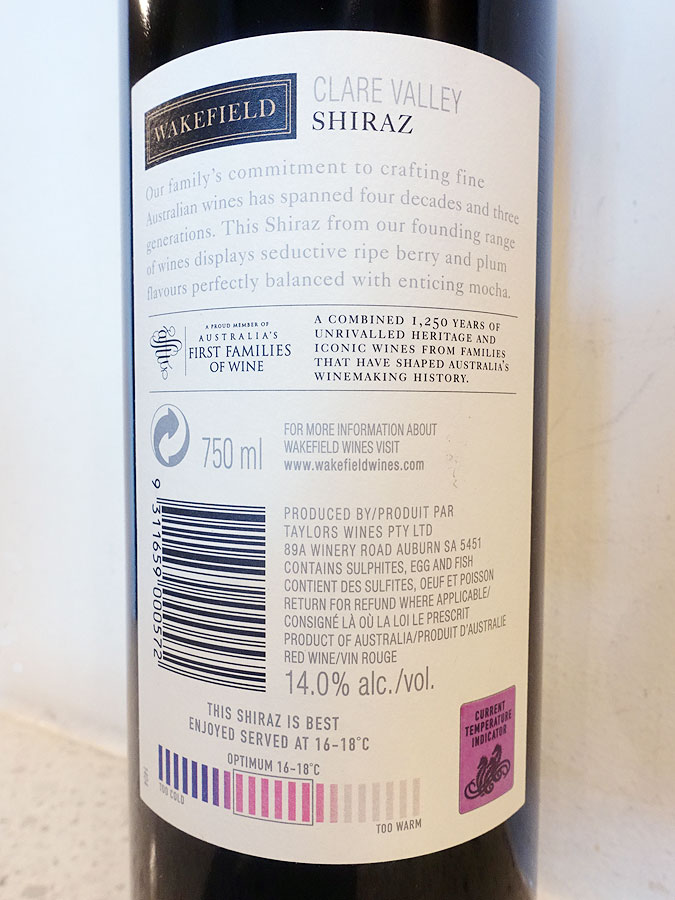 Wakefield Estate Shiraz 2018 (back label)