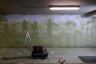 mural na ścianie las, malowanie drzew, grafitti dżungla, mural las 3d