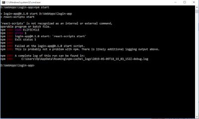react-scripts is not recognized as an internal or external command ReactJS Error Fix