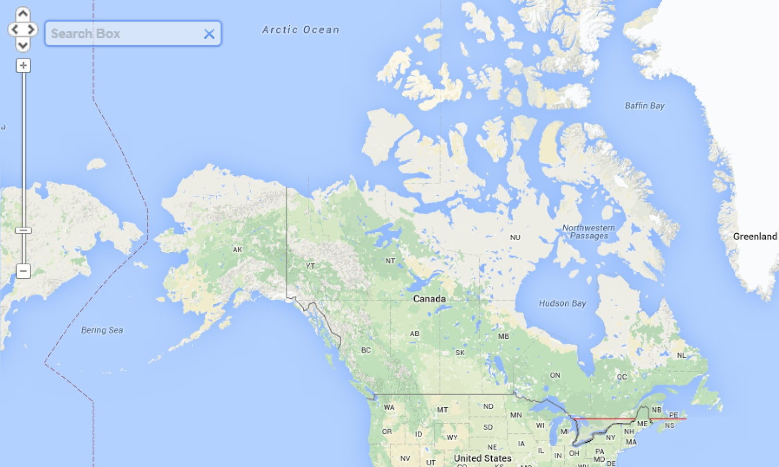 Half of Canada (33.5 million people) lives south of the red line, or 45.7 degrees north