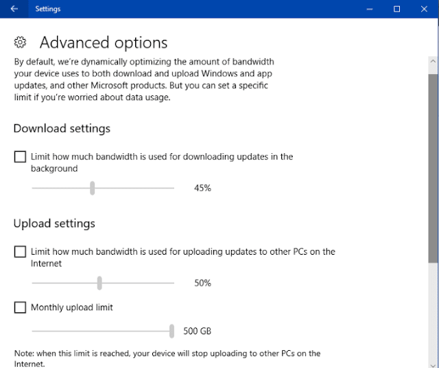 Limit How much Bandwidth is used for Downloading Updates  in Windows 10