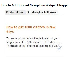 How to Add Tabbed Navigation Widget In Blogger Blogs