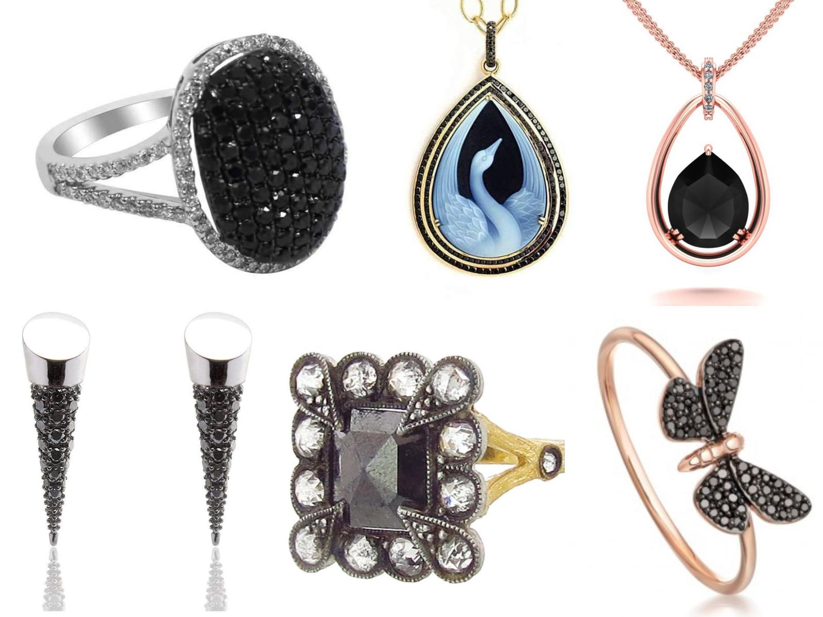 210e93e91 From left to right: Black Diamond Oval Silver Ring, Blue Swan Black Diamond  Pendant, Rose Gold and black Diamond Pendant, Black Diamond Moth Rose Gold  Ring, ...