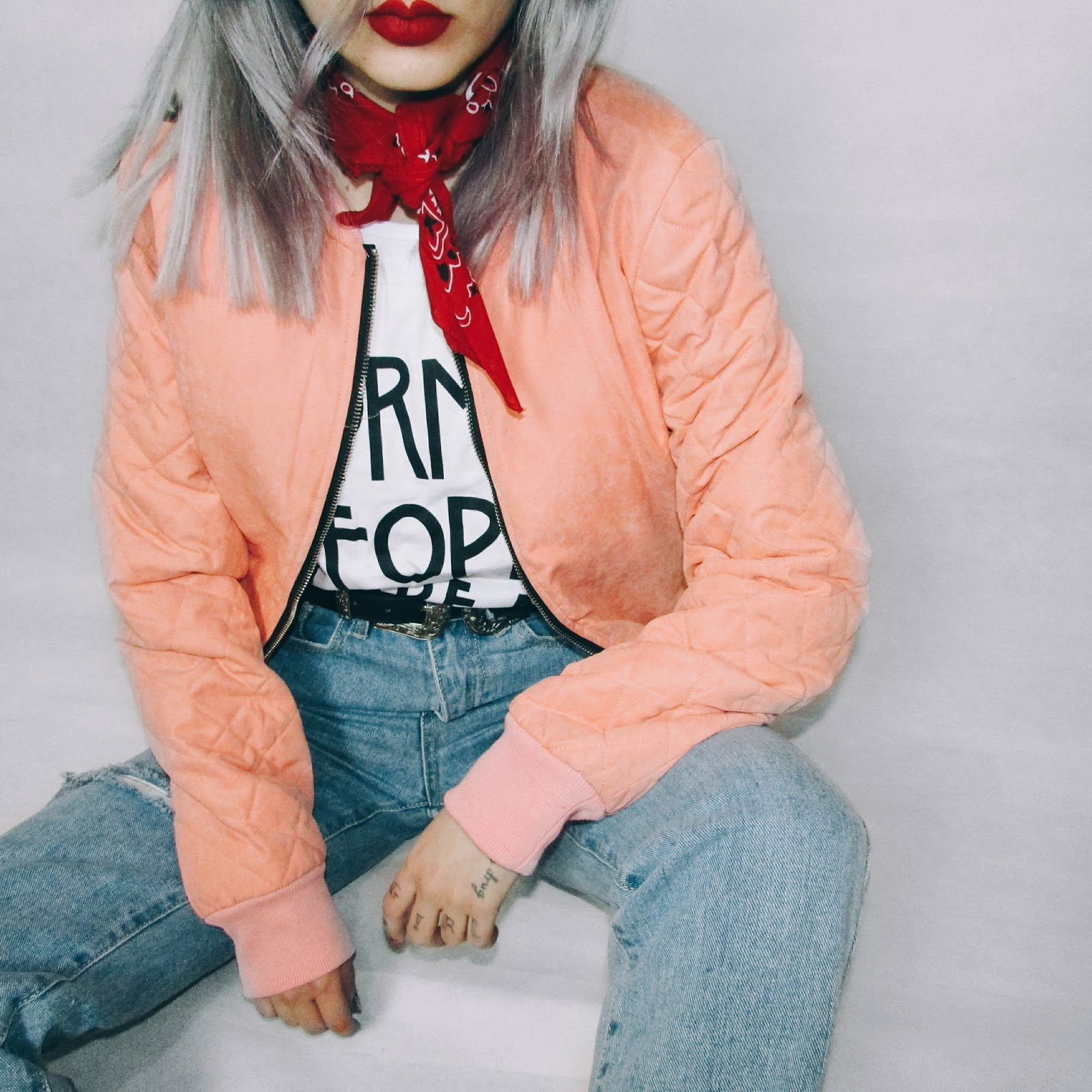 pink bomber jacket outfit