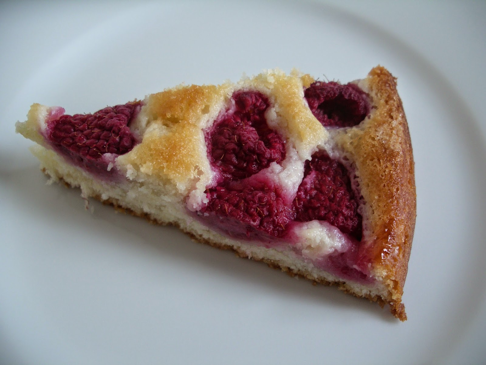 Raspberry laban cake slice