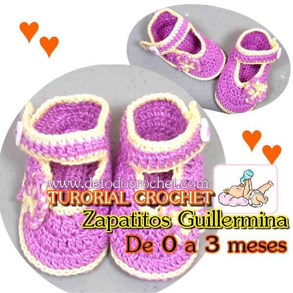 Aprende a tejer Zapatitos Guillermina de Bebe 0 a 3 meses | Todo crochet