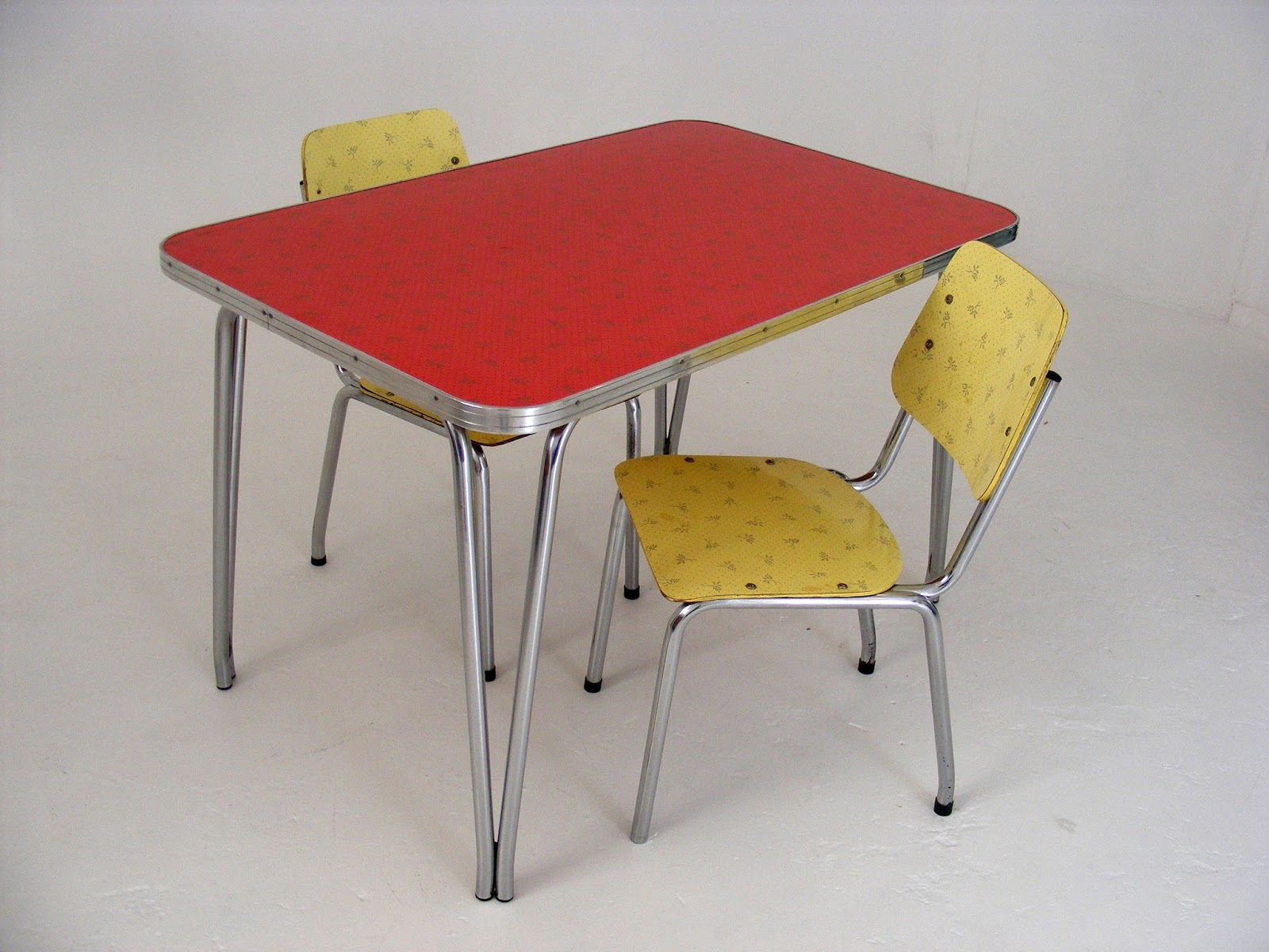A Red Patterned Formica Kitchen Table With 2 Yellow Formica Chairs In Great  Original Vintage Condition.